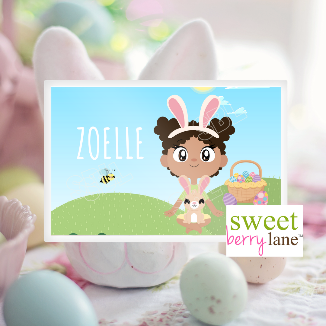 Easter Personalized Placemat for Black Girls features a bright and color spring scene with an adorable Black Girl holding a bunny.