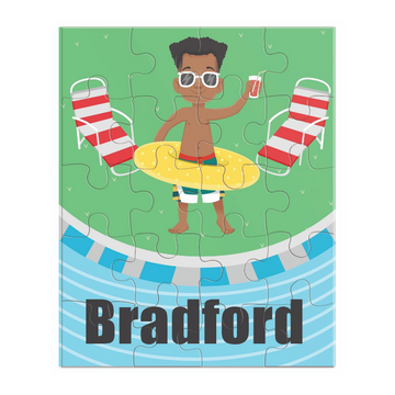 Child jigsaw puzzle featuring an African American boy standing the pool holding a drink.