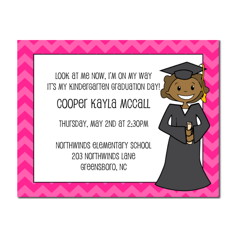 African American Preschool or Kindergarten Graduation Announcement with a pink border