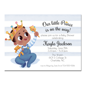 Little Prince African American Baby Shower Invitation