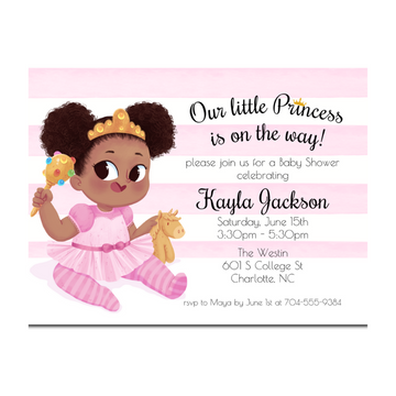 African American Baby Shower Invitation with Pink Stripes and a princess with a gold tiara.