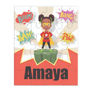 Child puzzle featuring an African-American girl dressed as a super hero ready to save the day.