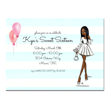 African American Sweet 16 Party Invitation