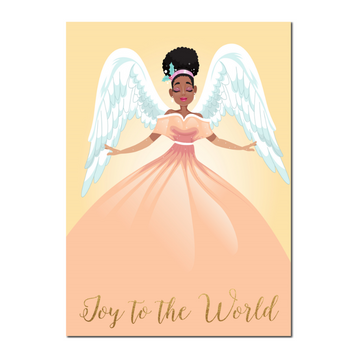 African American  Angel Christmas Card featuring a black Angel in a peach dress with an afro