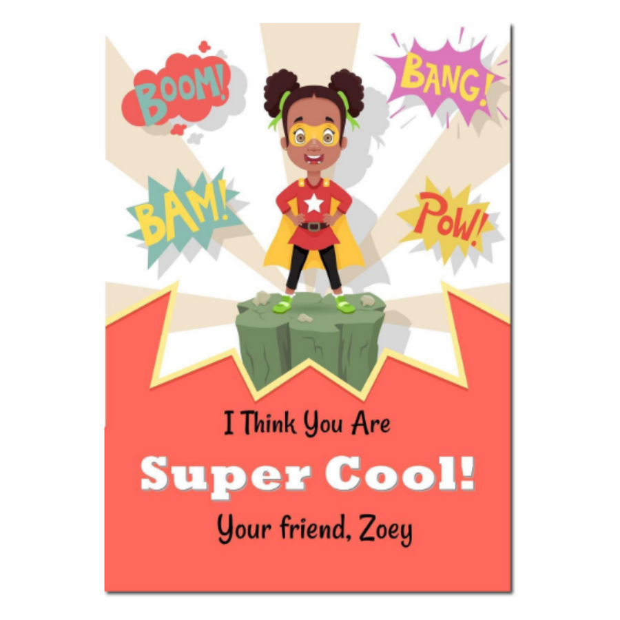 School Classroom Valentines Day Card for Black Girls.  Black Superhero Girl that is super cool to hand out for Valentine's day.