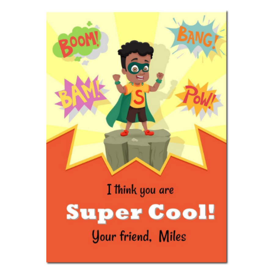 Classroom Valentines day card for black boys.  Black Superhero school valentines day card for kids.
