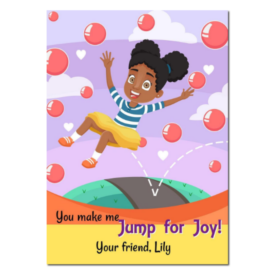 School Valentine's Day card for Black Girls.  Showcasing an African American Girl jumping for joy