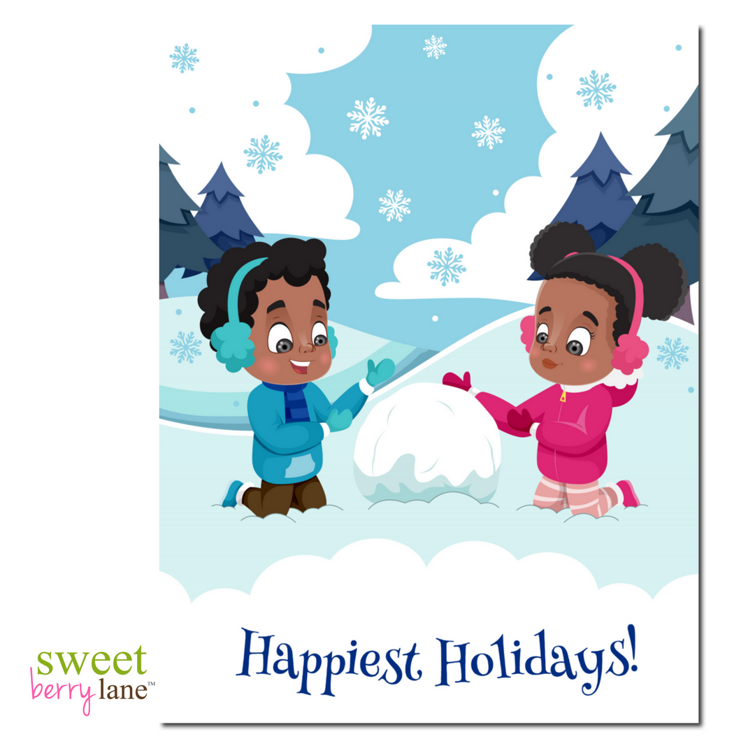 Happiest Holiday  African American Christmas Card - SweetBerryLane