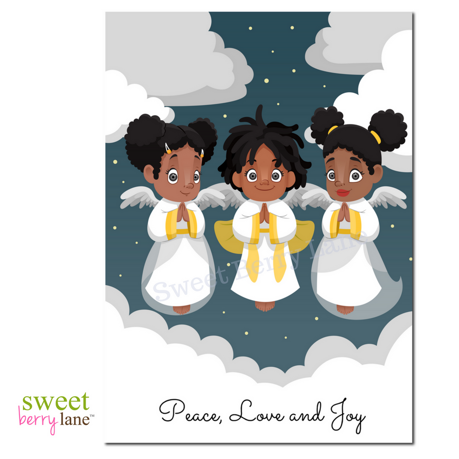 This African American Christmas Greeting Card features three black angels with the words Peace, Love and Joy