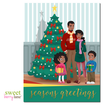 This African American Christmas Greeting card features an adorable family standing in front of a Christmas tree.