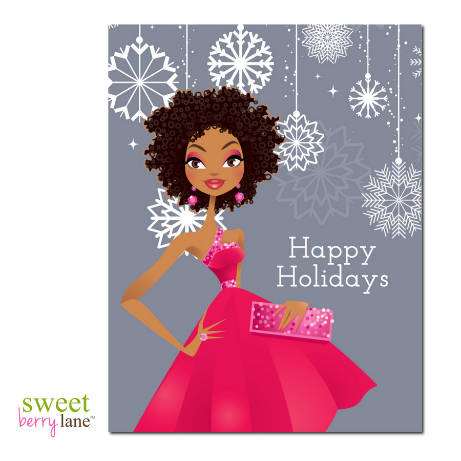 Black Girl Magic Christmas Card featuring an African American woman wearing a pink dress rocking her natural curls.