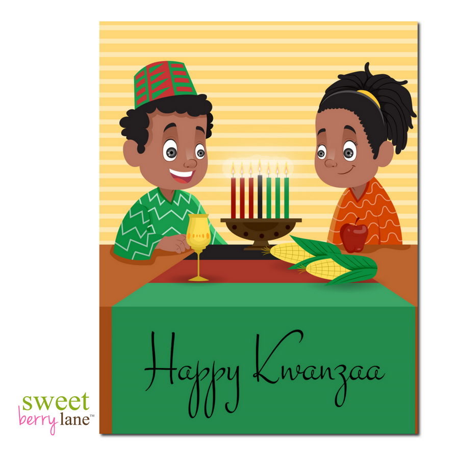 Kwanzaa greeting card featuring two kids ready to celebrate
