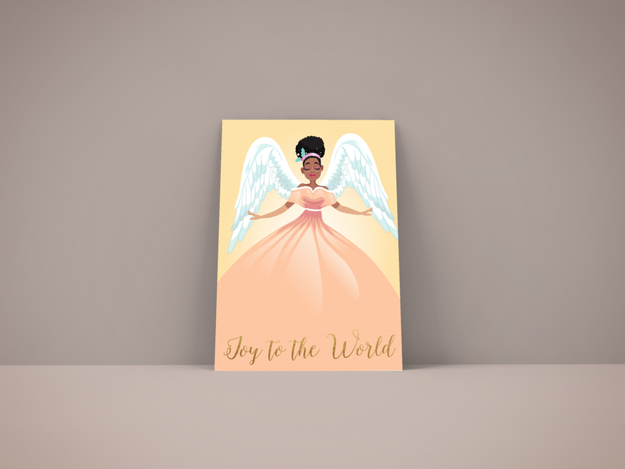 Black Angel Holiday Christmas Card posed on a shelf
