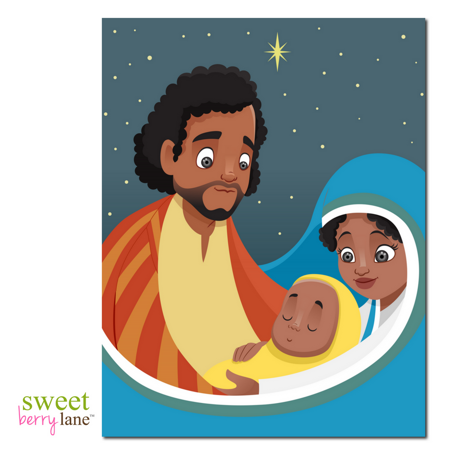 African American Christmas Card featuring the Holy Family