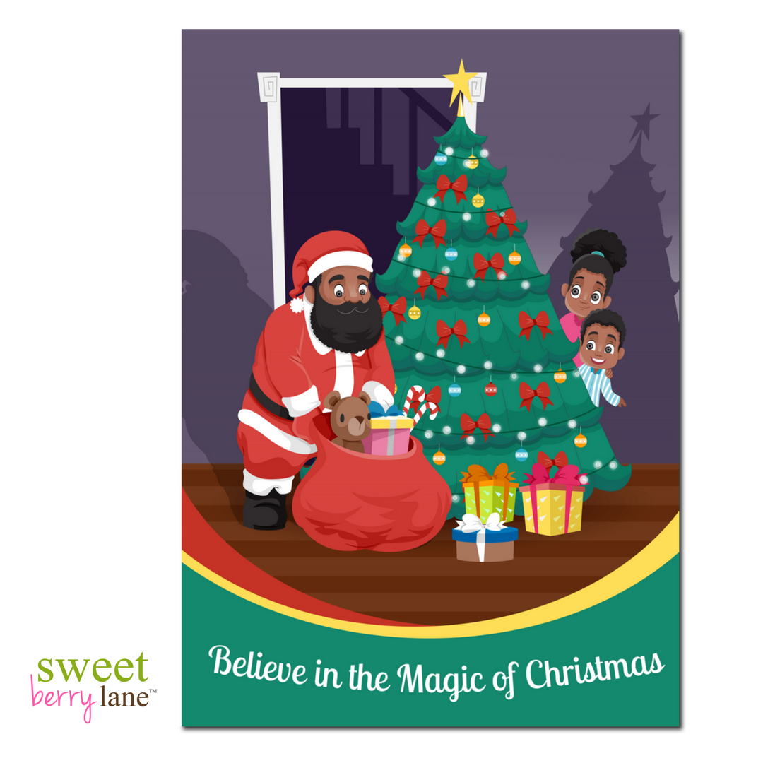 Christmas Greeting Card with an African-American Santa Claus with kids peeking around the Christmas Tree.