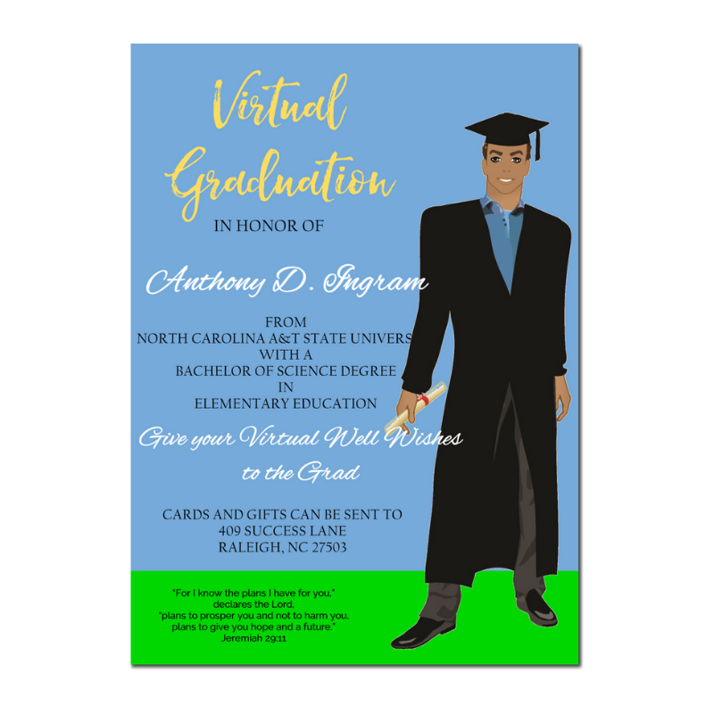 Image of African American Male Virtual Graduation Announcement