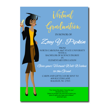 Image of African American Female Virtual Graduation Announcement