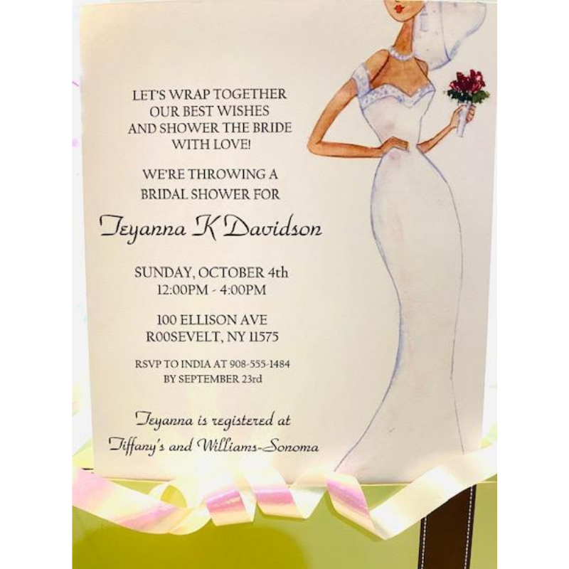 Watercolor African American Bridal Shower Invitation
