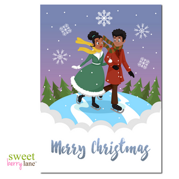 Christmas Card featuring an African American couples ice skating.