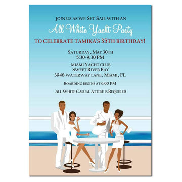 African American All White Yacht Party Invitation