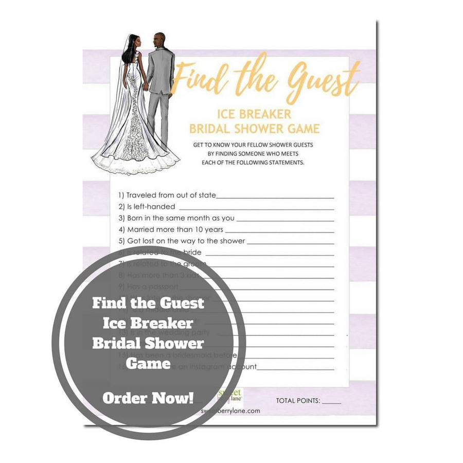Find the Guest Bridal Shower Game - African American Bridal Shower Game Download - Ice Breaker Bridal Shower Game -Purple