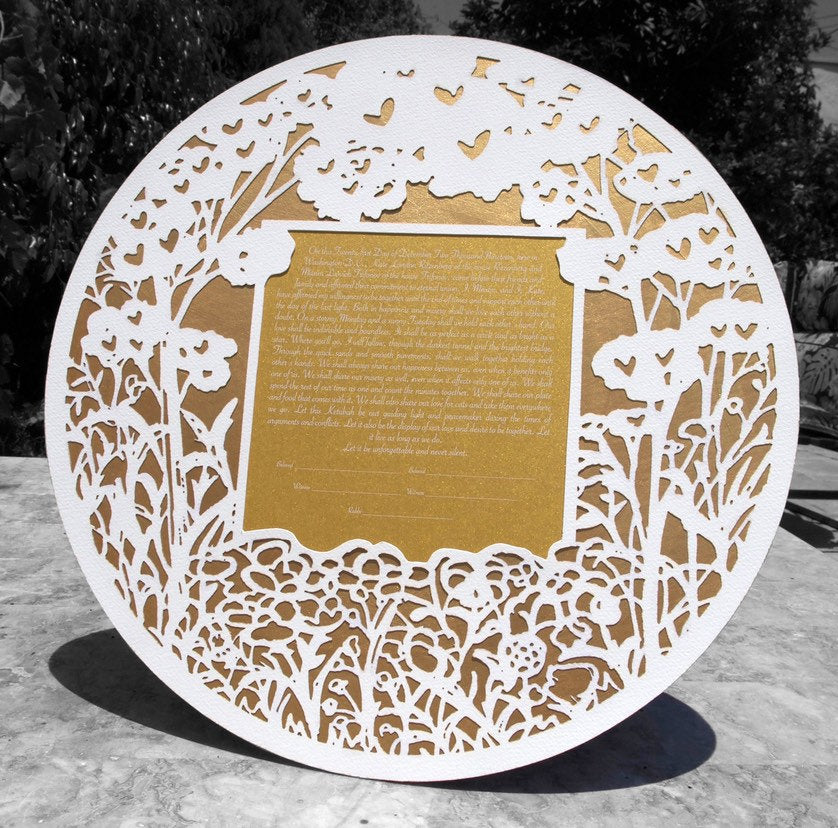 Forest Bloom - Circular Shaped Papercut Ketubah