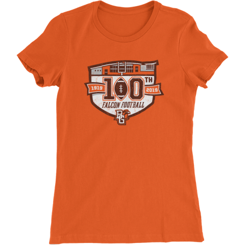 BGSU Falcons Football 100th Year Commemorative Women's Slim Fit Tee