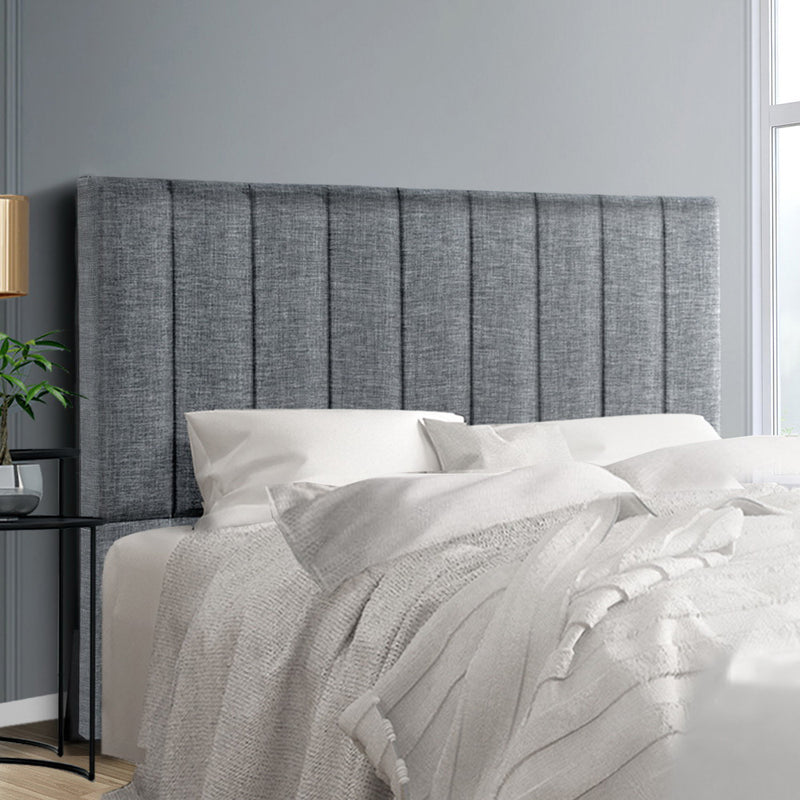 Artiss Double Size Bed Head Headboard Bedhead Fabric Frame Base SALA Grey
