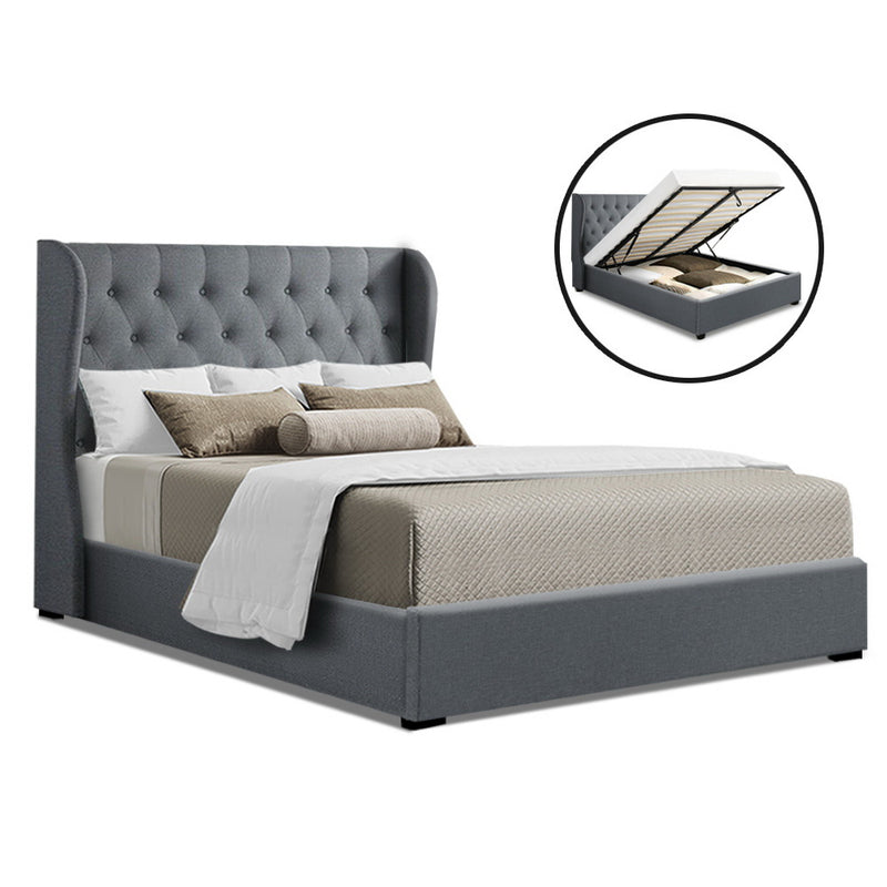 Artiss King Size Gas Lift Bed Frame Base With Storage Mattress Grey Fabric Wooden