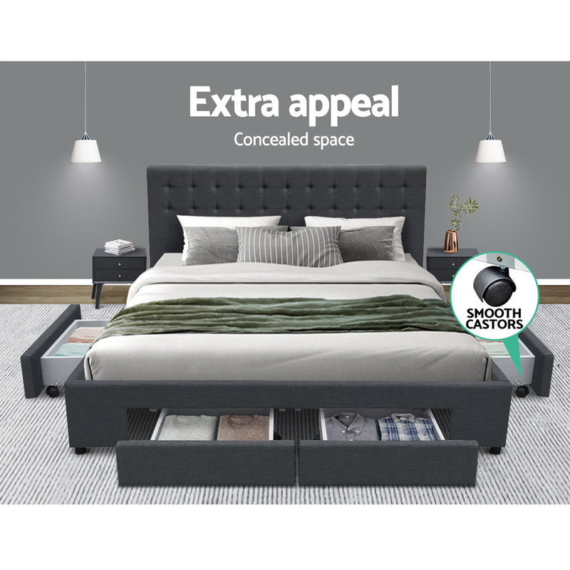 Artiss King Size Fabric Bed Frame Headboard with Drawers  - Charcoal
