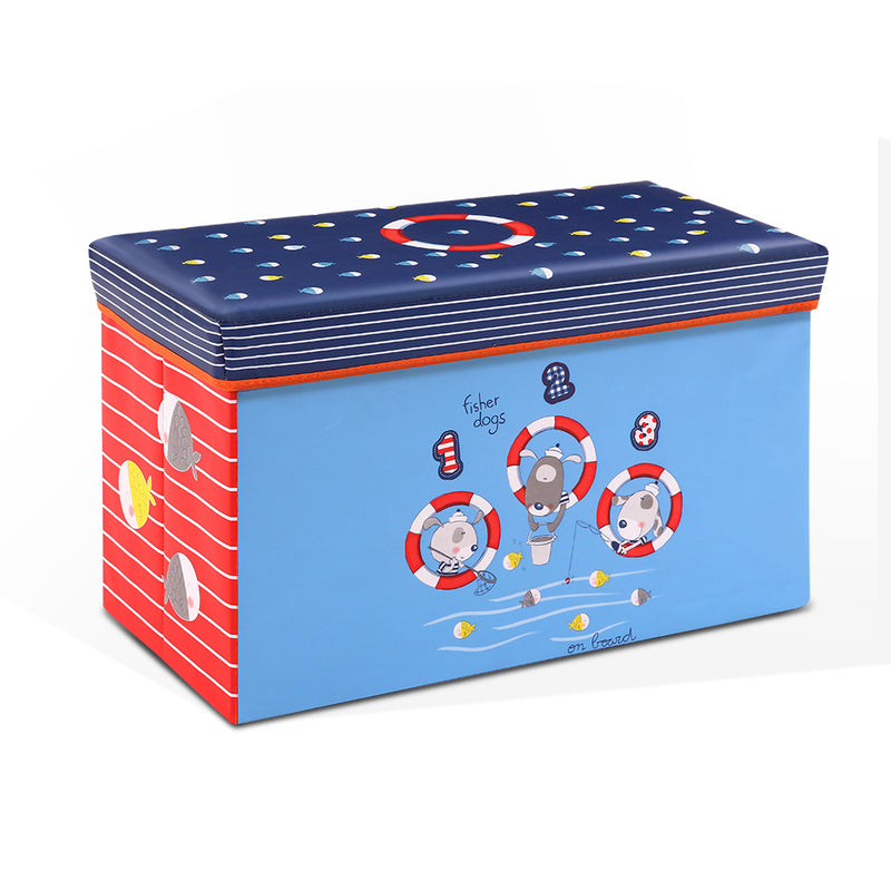 Kids Storage Toy Box Foldable Organiser - Blue