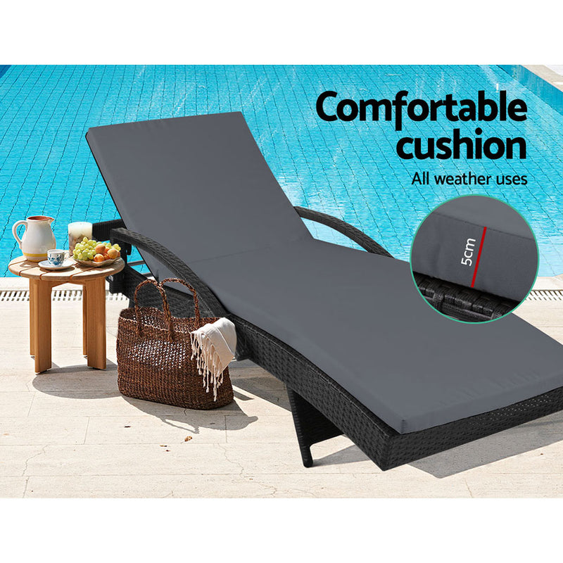 Gardeon Outdoor Sun Lounge - Black