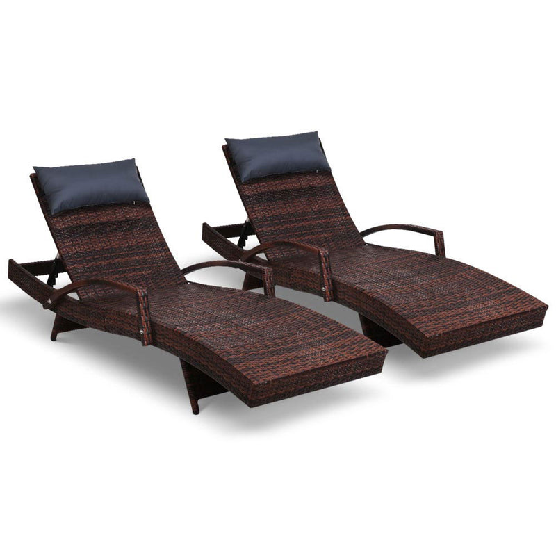 Gardeon Sun Lounge Outdoor Furniture Wicker Lounger Rattan Day Bed Garden Patio Brown