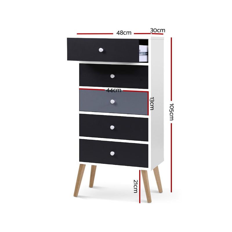 Artiss 5 Chest of Drawers Dresser Table Tallboy Storage Cabinet Furniture Black