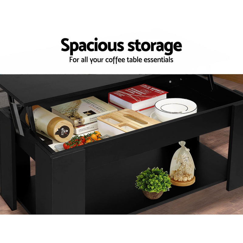 Artiss Lift Up Top Coffee Table Storage Shelf Black