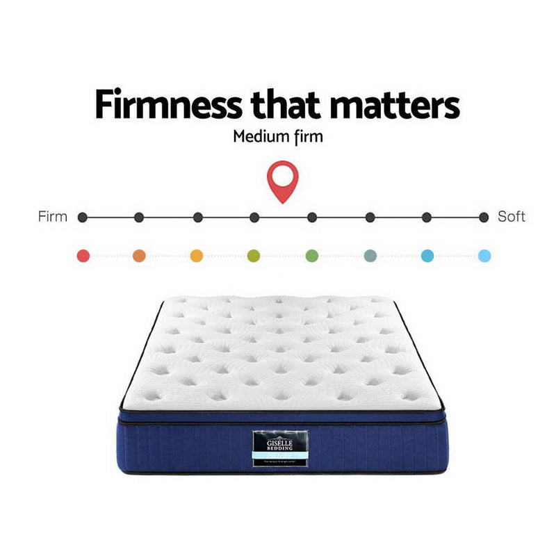 Giselle Bedding Double Size Mattress 7 Zone Euro Top Pocket Spring Cool Gel Memory Foam 34cm