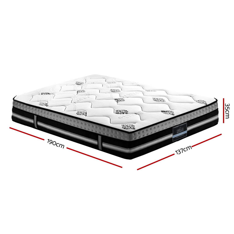 Giselle 35cm Double Size Mattress Bed 7 Zone Pocket Spring Cool Gel Foam Medium Firm