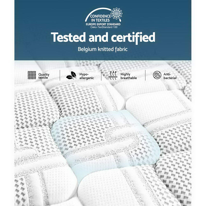 Giselle Bedding 36CM Queen Mattress 7 Zone Euro Top Pocket Spring Medium Firm Foam