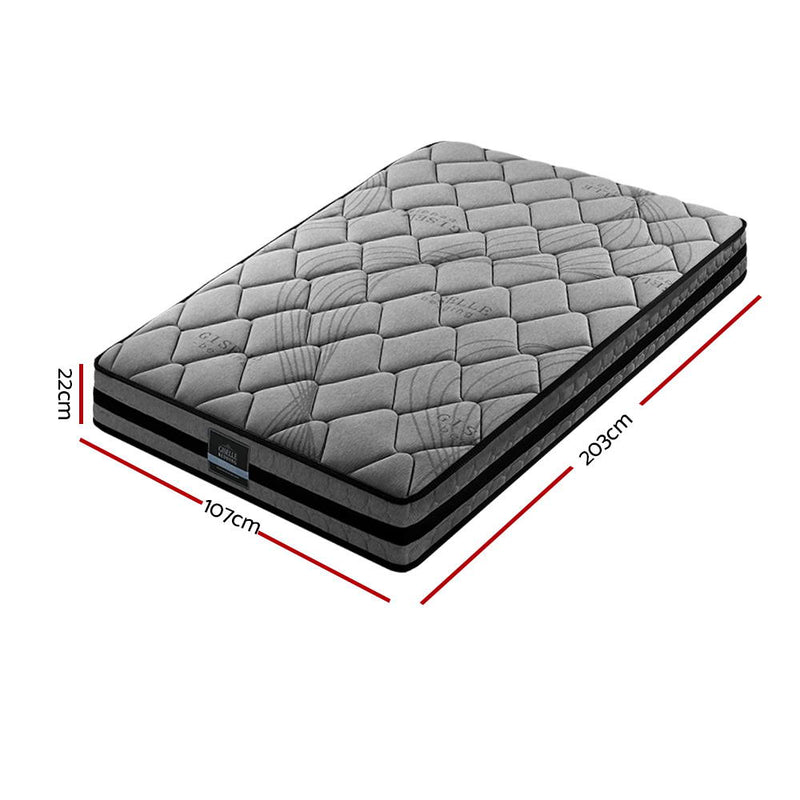 Giselle Bedding King Single Size Mattress Bed Medium Firm Foam Pocket Spring 22cm Grey