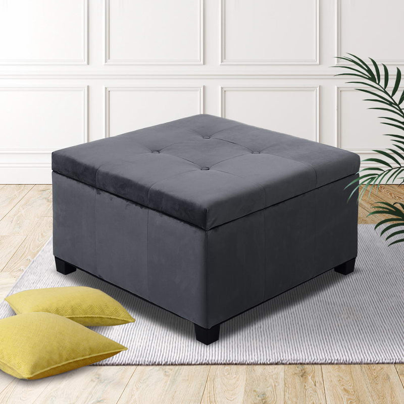 Artiss Storage Ottoman Blanket Box Velvet Foot Stool Rest Chest Couch Bench Toy Charcoal