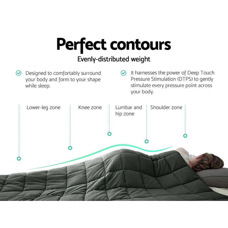 Giselle Bedding 2.3kg Cotton Weighted Blanket Heavy Gravity Sleep Black