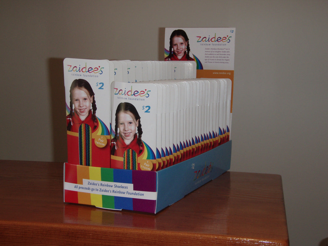 Zaidee's Counter Box 50 pairs of Laces 25 x 110cm and 25 x 140cm