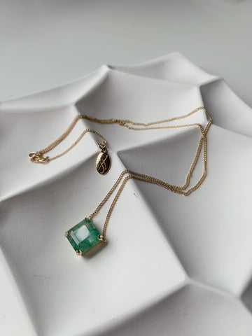 Custom Emerald Necklace in 14K yellow gold Jennifer Hillyer Jewelry