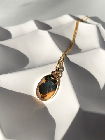 Dendrite Agate Fairmined and Recycled Ethical Gold Jewelry Jennifer Hillyer Jewelry