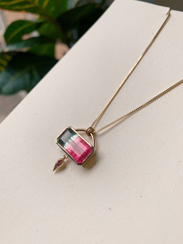 Watermelon Tourmaline and Pink Sapphire in Fairmined and Recycled 14k yellow gold necklace pendant designed and handcrafted by Jennifer Hillyer Jewelry