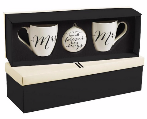 Cypress Home Beautiful Wedding Ceramic Cup O' Java Cup and Ornament Gift Set - 6 x 4 x 4 Inches Indoor/Outdoor home good, Couple Christmas Gift Ideas