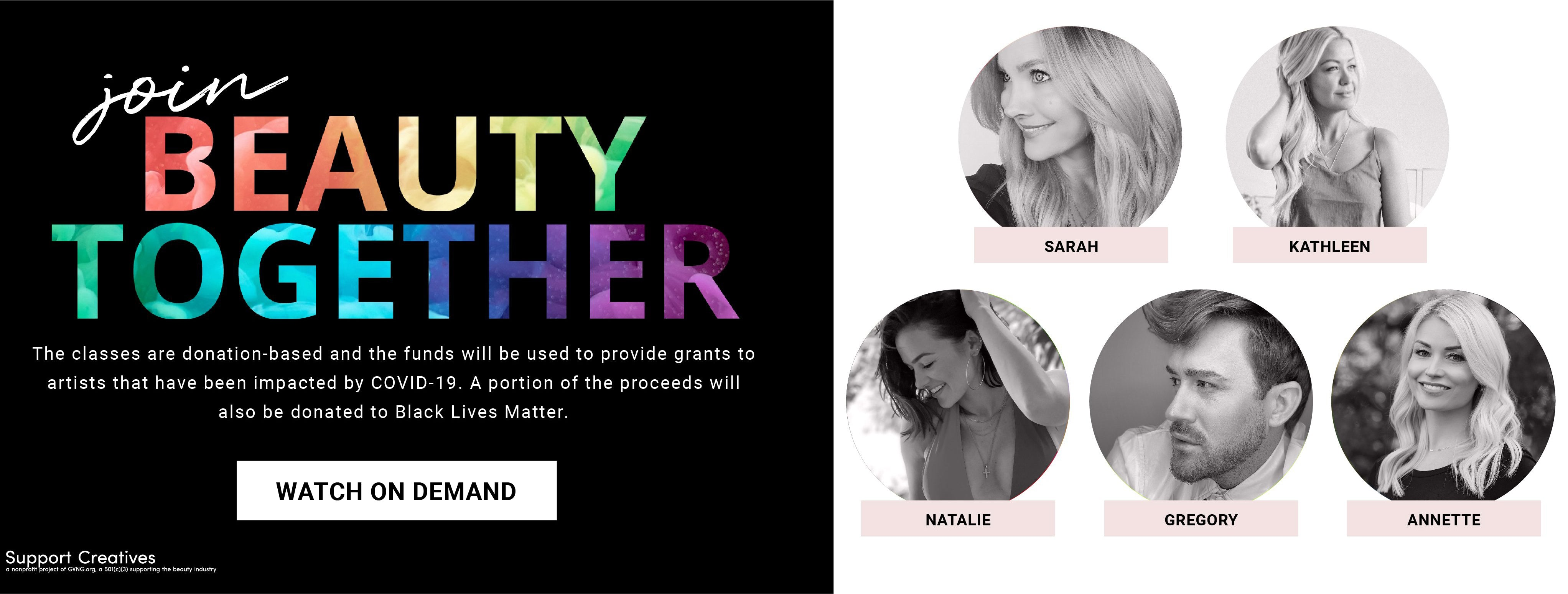 Beauty Together. Class donation are being made to Black Lives Matter.