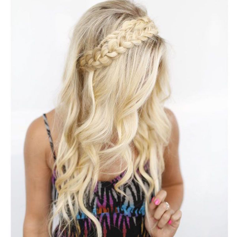 Braid inspiration the beachwaver co for this crown braid look potempa started out by braiding two sections of hair one behind the left ear and another on the right ccuart Gallery