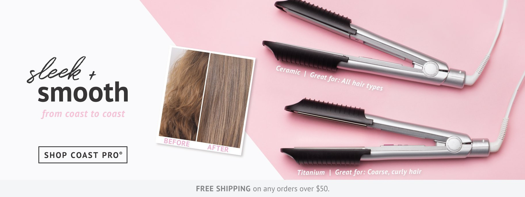 Keep your hair sleek and smooth with Beachwaver Coast Pro ceramic and titanium styling irons