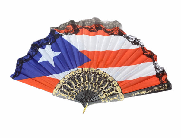 Folding Hand Fan with Puerto Rico Flag